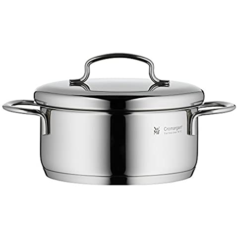 WMF cookware Ø 14 cm approx. 0,9l Mini stackable pouring rim metal lid Cromargan stainless steel brushed suitable for all stove tops including induction