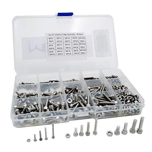 Mcbazel 304 Stainless Steel M2 M3 M4 Hex Socket Head Cap Screws and Lock Nuts Kit - 480 Pcs -