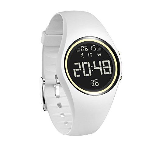 Lovearn Fitness Tracker, Smart Watch mit Langer Akkulaufzeit, 3D Schrittzähler, Kalorienmonitor, Stummalarm, strahlungsfrei, IP68 wasserdicht, Datenschutz für Kinder, Frauen und Männer (White)