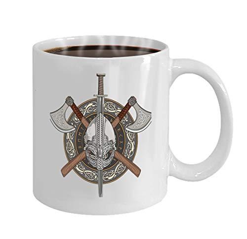 oween Party Gift Coffee Mug Tea viking helmet ed viking axes wreath scandinavian pa ()