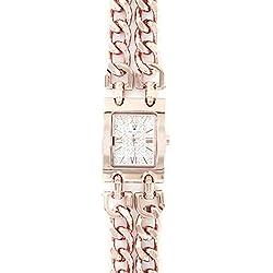 Michael John Damen-Damen Panzerkette Armbanduhr mit Stahl rosé Diamanten CZ Michael John 12