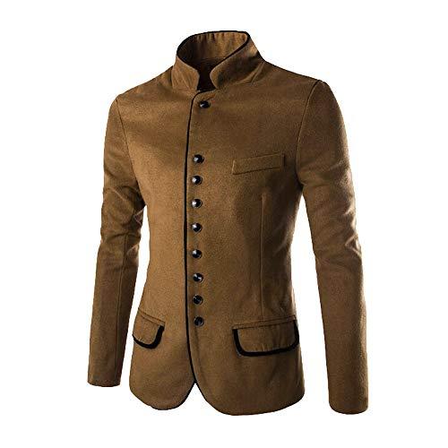Preisvergleich Produktbild Binggong Herren Shirt, Anzug Herren Slim Fit Khaki / Schwarz Business Herrenanzug Herren Casual Tunika Kragen Kragen Wolle Kleine Anzugjacke