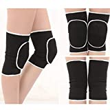 Kedenis Ungewöhnlich 1Pair /Set Elastic Legs Sleeve Brace High Compression Knie Unterstützung Atembare Kniebeugen Basketball Running Sports Dancing Knee Protector(None Black)