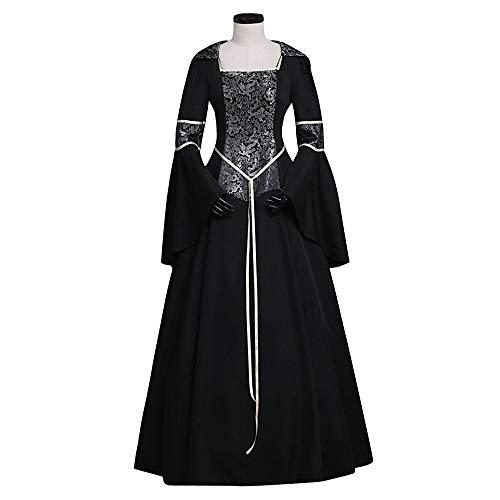 X&x Halloween Kleid Prinzessin Blumen Stil Rokoko viktorianischen Renaissance Kleid Weihnachtsfeier Kostüm Maskerade Damen Kostüm schwarz - Renaissance Stil Kostüm