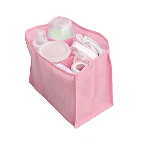 LEXUPE Portable Baby Diaper Nappy Changing Organizer Insert Storage Bag Outdoor (Rosa,Free Size)
