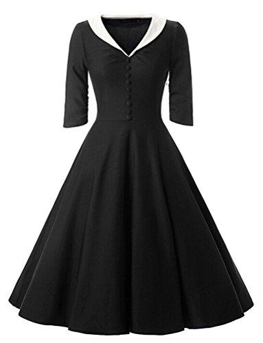 Brinny 50s Vintage Damen Kleider Cocktailkleid Winter Knielanges 3/4 Arm festlich hochzeit Business Schwarz