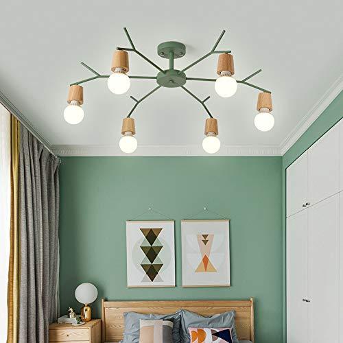 Restaurante de un dormitorio individual con lámpara de 6 cabezas de color verde oscuro sin fuente de luz