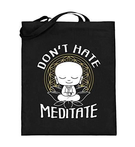 Meditation Buddha T-shirt zum Meditieren OM Yoga Zen Geschenkidee Buddhismus Chakra Spruch - Jutebeutel (mit langen Henkeln)