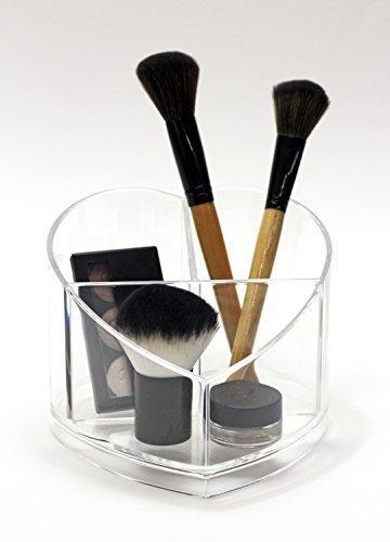 MiCorazon Acryl Make-up-Organizer–Herzform–Ideal für Pinsel, Kosmetik, persönliche Gegenstände und Schreibwaren
