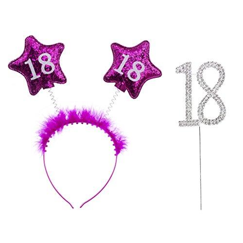 stag Kristall Tortenverzierung Torten Topper und Rosa Stirnband für 18. Geburtstag Party Dekor (18 Geburtstag Cupcake Dekorationen)