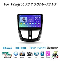 For Peugeot 207 2006~2015 Sat Nav Double Din Car Stereo Radio GPS Navigation 9 Inch Head Unit Multimedia Player Video Receiver Carplay DSP RDS