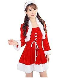 Homebaby Costume da Babbo Natale Donna Festa di Natale Fantasia a Due Pezzi  Abito Cosplay Vestito 7c2e5edca4df