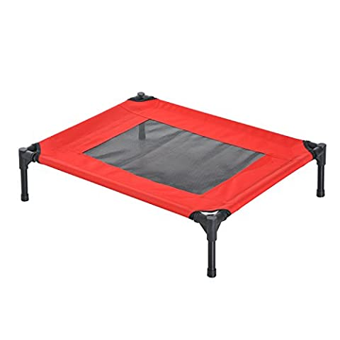 PawHut Elevated Pet Bed Portable Camping Raised Dog Bed w/ Metal Frame Black and Red (Medium)