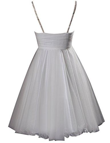 Dresstells Robe courte de soirée de cocktail Robe de bal en tulle bretelles spaghetti Blanc