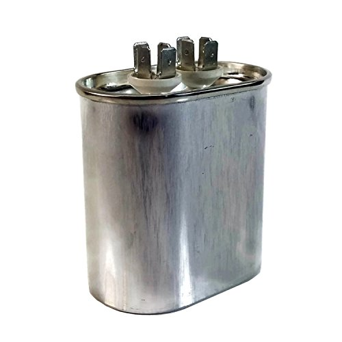 Midwest Herzen Motor Run Kondensator Single MFD Dual Spannung 370/440Volt, Oval, silber, 20 MFD
