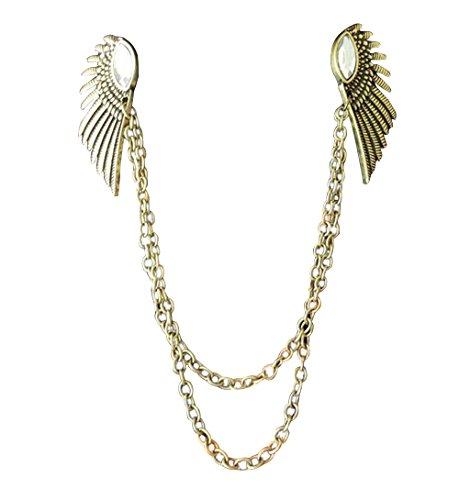 Vintage antiken Messing-Engels-Flügel-Kragen-Kettenbolzen mit glänzenden Kristall Kleidung Schmuck -