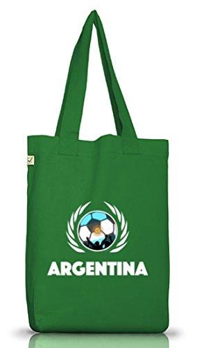Argentinien Fußball-bälle (Argentinia Fussball WM Fanfest Gruppen Jutebeutel Stoffbeutel Earth Positive Fußball Argentinien, Größe: onesize,Moss Green)