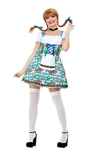 (Smiffys 47788M Oktoberfest Beer Maiden Kostüm, Damen, Blau, M - Größe 38-42)