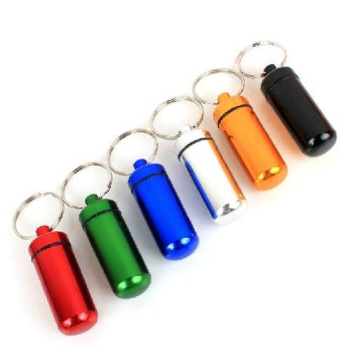 Preisvergleich Produktbild Estone 6 Pillendose aus Aluminium, wasserdicht, Schlüsselanhänger, mehrfarbig