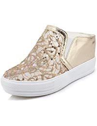 SHOWHOW Damen Bequem Paillette Mesh Keilabsatz Plattform Slipper Gold 43 EU
