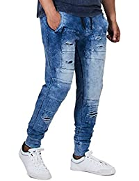 Fugazee Men's Blue Denim Wash Distressed Slim Fit Stretchable Joggers