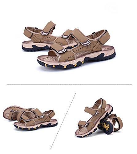 YiLianDa Homme Chaussure été Sandales Cuir Souple Sandales de Plage Tongs Kaki