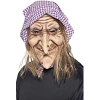 Smiffy's Old Witch Mask with Hair and Headscarf Latex