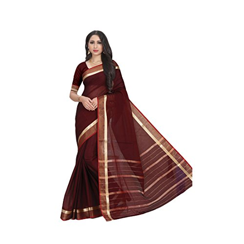 6109df45860889 Craftsvilla Women s Kota Cotton Zari Work Saree Designer Maroon Saree With Blouse  Piece