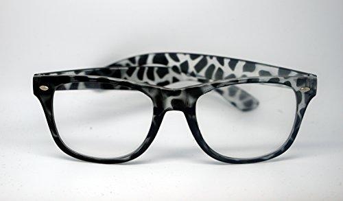 CenicShades Leoparden schwarzen Retro-Nerd übergroßen Stil Rahmen Geek Gläser