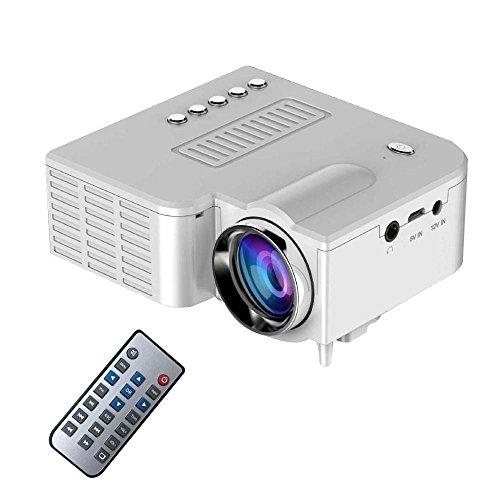 Teepao Mini Proyector LED, 2018 Upgraded Deeplee Proyector de Cine Multimedia Portátil Portátil con USB/SD/AV/HDMI Soporte PC Proyector de Bolsillo U-Stick con Control Remoto - Blanco