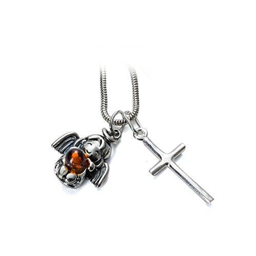 Tauf Geschenk-Set Bernstein Tauf Engel & Kreuz Anhänger & Schlangen Halskette 3-teilig Sterling Silber #1493
