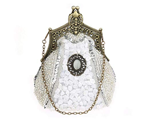 MaoDaAiMaoYi Handtaschen Damen Retro Schwere Stickerei Abendkleid Tasche Chic Couture Bag Brautkleid Mode Living Clutch Schulter Cross Bag (Color : Silver, Size : One Size) -
