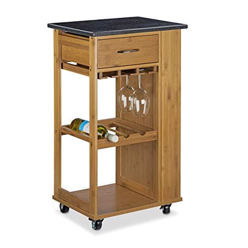 Relaxdays alfred carrello per cucina con superficie, legno, marrone, 81.5x47.5x37.5 cm