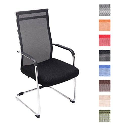 CLP Freischwinger-Stuhl BRENDA mit Armlehne und Netzbezug | Bürostuhl mit einer...