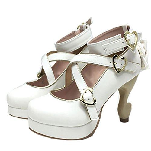 Partiss Damen Suess High-top Pumps Casual Schuhen Lolita Pumps Platform Hochzeit Tanzenball Maskerade Pumps Lolita Shoes 2 White