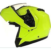 Qtech Klapp Motorradhelm mit DOPPELVISIER/Sonnenblende - Gelb - L (59-60cm)
