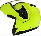 Qtech Klapp Motorradhelm mit DOPPELVISIER/Sonnenblende - Gelb - XS (53-54cm)