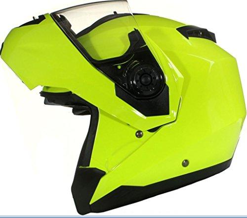 Qtech Casco MODULARE per Moto con Integrale Doppia Visiera - Giallo - S (55-56cm)