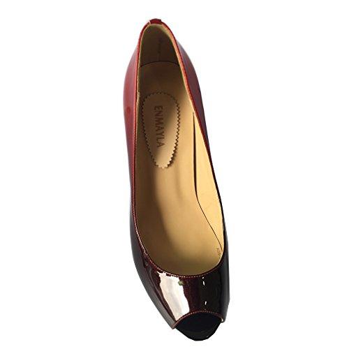 ENMAYER Frauen PU-Material Pumpen mischten Farben High Heels Peep Toe Plattform Stiletto Party Schuhe Schwarz#03
