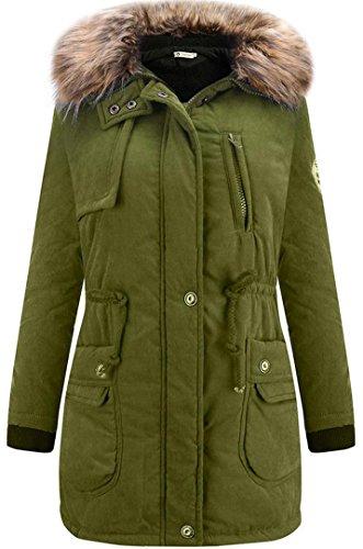 EVERY Damen Wintermantel mit Künstlichen Fellkragen Kapuze Bequem Dicke Lange Oberbekleidung Modern Baumwolle Jacke Dunkelgrün