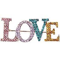 Da.Wa Broche de Navidad Broche Aleación de Diamantes Decoraciones de Navidad de Diseño de Letras de LOVE(Multicolor)