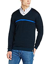Peter England Mens Sweater (PSW51708104_MediumBlueWithBlack_Medium)