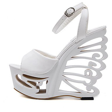 ... LvYuan Da donna-Sandali-Formale-Club Shoes-Zeppa-Vernice-Bianco ...