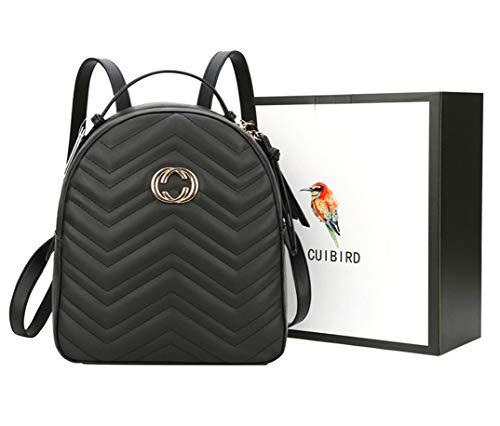 CUIBIRD Elegant Damen Rucksack Mädchen Tagesrucksack Einfarbig Lederrucksack Mode Frauen Taschen Schule Klein Rucksäcke Lässig Daypacks für 9.7 Zoll ipad (Schwarz)