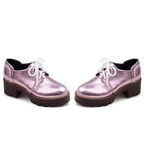 AllhqFashion Femme à Talon Correct Matière Souple Couleur Unie Lacet Rond Chaussures Légeres Violet