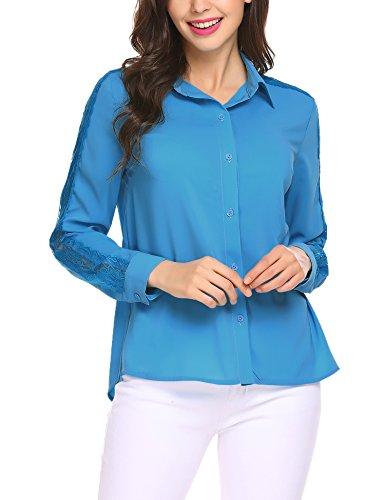 Beyove Damen Chiffon Bluse mit Spitze Langarm Blusenshirt Loose T Shirt Hemd Tunika Oberteil Tops Blau