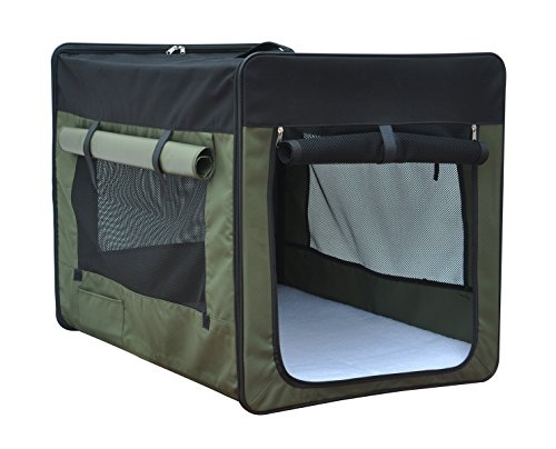 captain-pet-light-weight-foldable-pet-soft-sided-carrier-600d-oxford-cloth-dog-crate-greenxs42cmx36c