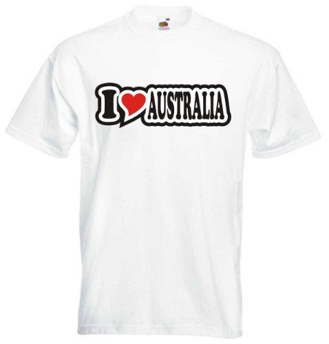 T-Shirt Herren - I Love Heart - I LOVE AUSTRALIA Weiß