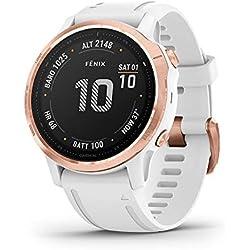 Garmin Fenix 6S Pro - Reloj inteligente con GPS para outdoor, color rose gold y blanco con correa blanca