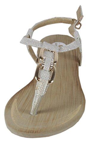 Blonna - coole Sandale mit Metallsteinen Pailetten Knöchelriemchen Schaft Zehentrenner LederOptik Damen Sommer Schuhe 36 37 38 39 40 41 Gold Karo Steine - Weiß